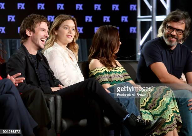 Actors Dan Stevens Rachel Keller Aubrey Plaza and Jemaine Clement speak onstage during the FOX/FX portion of the 2018 Winter Television Critics...