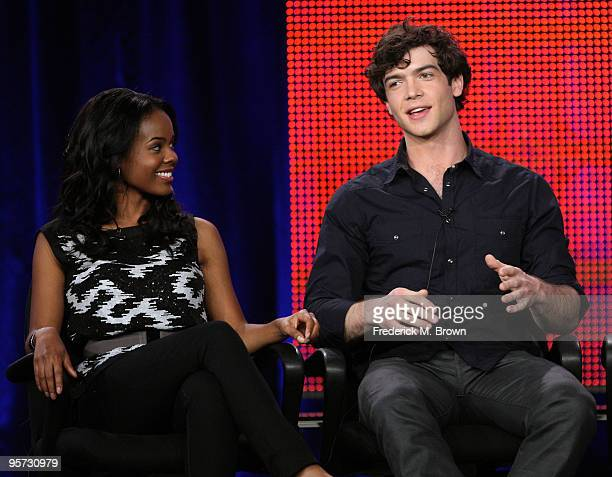 Actors Dana Davis and Ethan Peck speak onstage at the ABC '10 Things I Hate About You' QA portion of the 2010 Winter TCA Tour day 4 at the Langham...