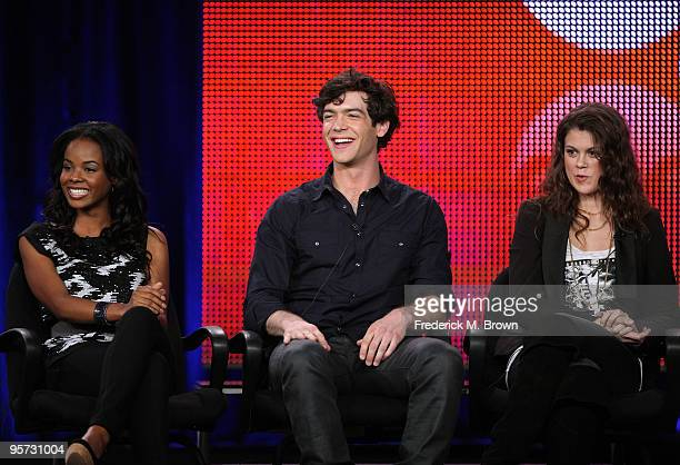Actors Dana Davis Ethan Peck and Lindsey Shaw speak onstage at the ABC '10 Things I Hate About You' QA portion of the 2010 Winter TCA Tour day 4 at...