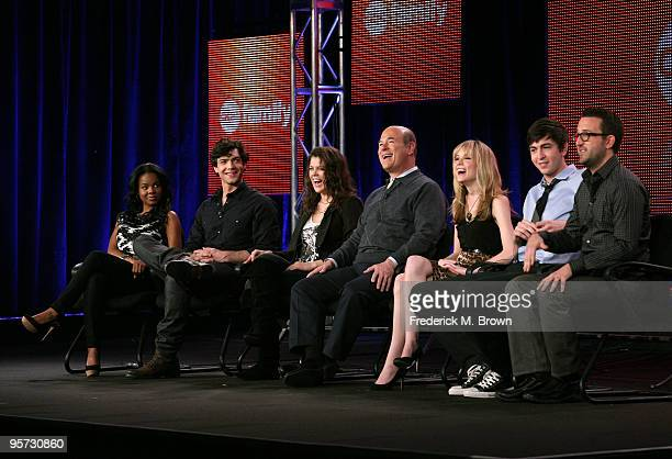 Actors Dana Davis Ethan Peck Lindsey Shaw Larry Miller Meaghan Martin Nicholas Braun and executive producer Carter Covington speak onstage at the ABC...