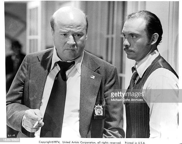 Actors Dana Elcar and Hector Elizondo on set of the United Artists movie 'Report to the Commissioner' in 1975
