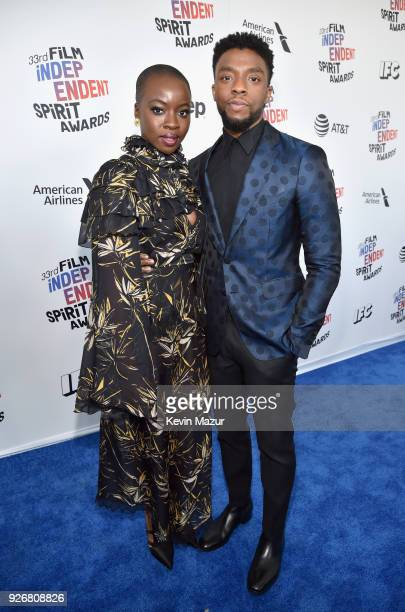 Actors Danai Gurira and Chadwick Boseman attend the 2018 Film Independent Spirit Awards on March 3 2018 in Santa Monica California