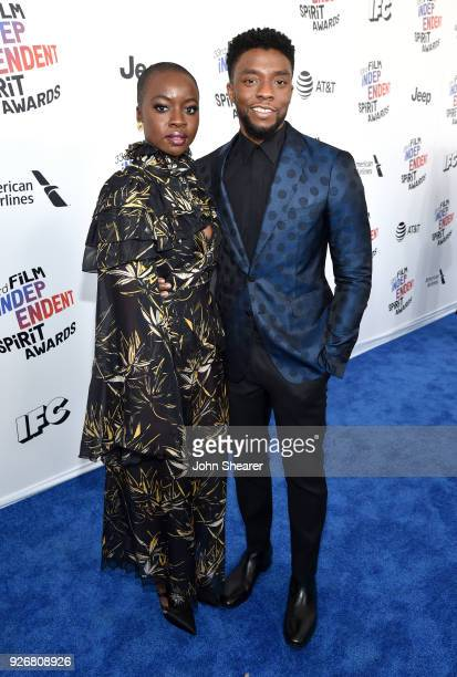 Actors Danai Gurira and Chadwick Boseman attend the 2018 Film Independent Spirit Awards on March 3, 2018 in Santa Monica, California.