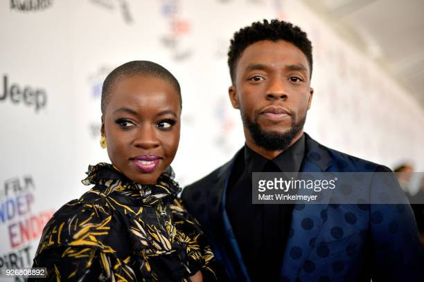 Actors Danai Gurira and Chadwick Boseman attends the 2018 Film Independent Spirit Awards on March 3 2018 in Santa Monica California