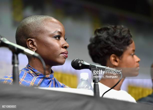Actors Danai Gurira and Letitia Wright from Marvel Studios' 'Black Panther' at the San Diego ComicCon International 2017 Marvel Studios Panel in Hall...