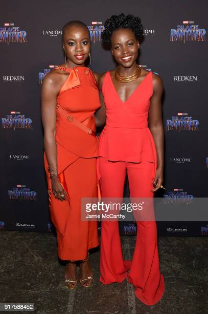 Actors Danai Gurira and Lupita Nyong'o attend the Marvel Studios Black Panther Welcome to Wakanda New York Fashion Week Showcase at Industria Studios...