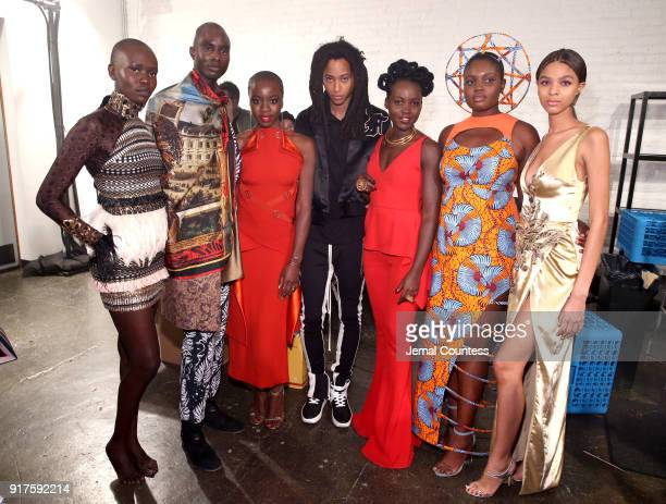 Actors Danai Gurira and Lupita Nyong'o pose backstage with models during the Marvel Studios Black Panther Welcome to Wakanda New York Fashion Week...
