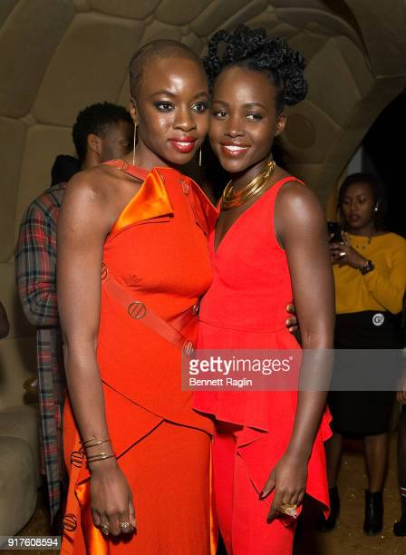 Actors Danai Gurira and Lupita Nyong'o pose for a picture during the DANAI x One x Love Our Girls celebration at The Top of The Standard on February...