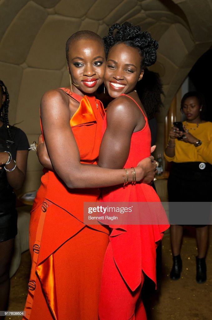 Actors Danai Gurira and Lupita Nyong'o pose for a picture during the DANAI x One x Love Our Girls celebration at The Top of The Standard on February 12, 2018 in New York City.