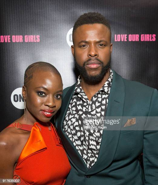 Actors Danai Gurira and Winston Duke pose for a picture during the Danai x One x Love Our Girls celebration at The Top of The Standard on February 12...