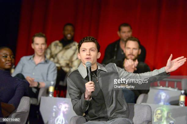 Actors Danai Gurira Benedict Cumberbatch Winston Duke Tom Holland Dave Bautista and Chris Pratt attend the Global Press Conference at the Avengers...
