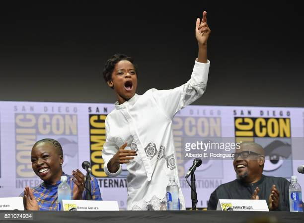 Actors Danai Gurira Letitia Wright and Forest Whitaker from Marvel Studios' 'Black Panther' at the San Diego ComicCon International 2017 Marvel...