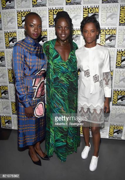 Actors Danai Gurira Lupita Nyong'o and Letitia Wright from Marvel Studios' 'Black Panther' at the San Diego ComicCon International 2017 Marvel...