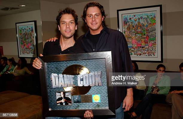 Actors Dane Cook and Matt Frost celebrate Dane Cook's gold record at the Madison Square Garden Theater on September 17 2005 in New York City