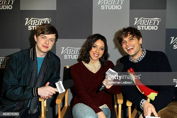 Actors Dane DeHaan Aubrey Plaza and Matthew Gray Gubler attend The Variety Studio Sundance Edition Presented By Dawn Levy on January 19 2014 in Park...
