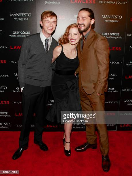 Actors Dane DeHaan Jessica Chastain and Shia LaBeouf attend The Cinema Society Manifesto Yves Saint Laurent screening of The Weinstein Company's...