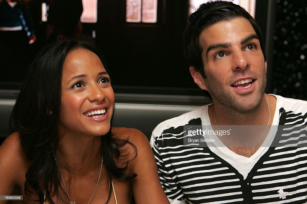 Actors Dania Ramirez and Zachary Quinto attend the NBC Universal celabration for the DVD realease of 'Heroes: Season 1' at the NBC Experience store on August 28, 2007 in New York City.