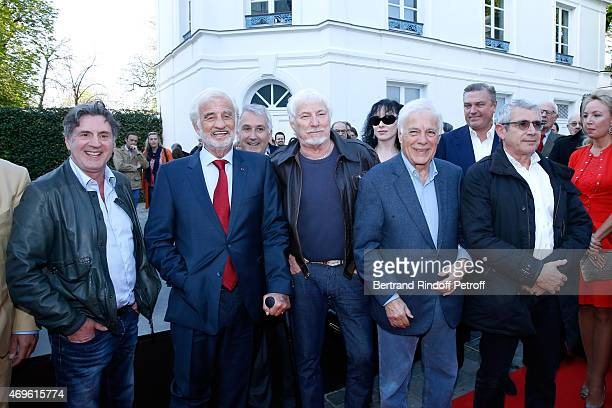 Actors Daniel Auteuil JeanPaul Belmondo Singer Hugues Aufray Humorists Guy Bedos and Michel Boujenah attend Museum Paul Belmondo celebrates its 5th...