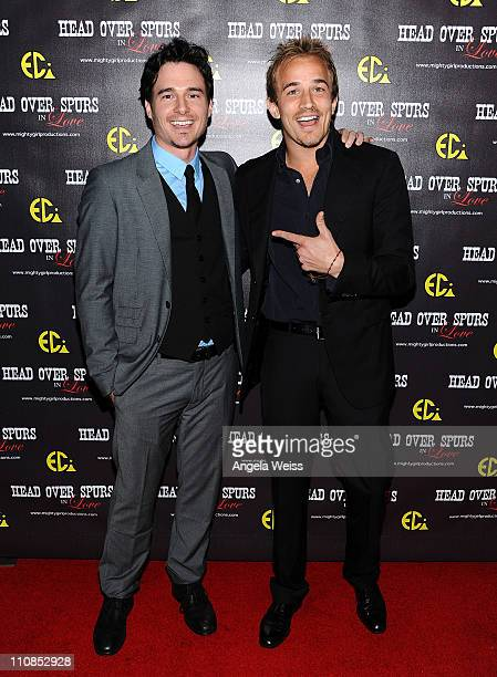 Actors Daniel Bonjour and Jesse Johnson arrive at the world premiere of 'Head Over Spurs In Love' at Majestic Crest Theatre on March 24, 2011 in Los...