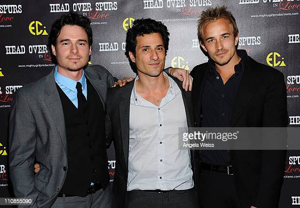 Actors Daniel Bonjour, Hal Ozsan and Jesse Johnson arrive at the world premiere of 'Head Over Spurs In Love' at Majestic Crest Theatre on March 24,...