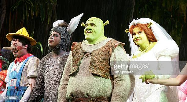 """Actors Daniel Breaker, Brian d' Arcy James and Sutton Foster attend the opening night of """"Shrek The Musical"""" on Broadway at the Broadway Theatre on..."""