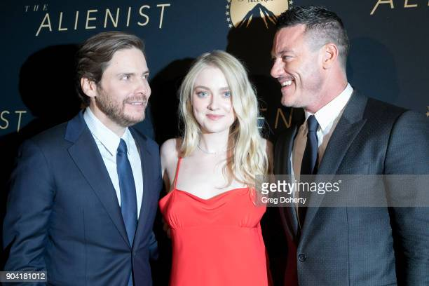 Actors Daniel Brühl Dakota Fanning and Luke Evans and actor Brian Geraghty attend the Premiere Of TNT's 'The Alienist' on January 11 2018 in...