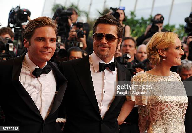 Actors Daniel Bruhl Brad Pitt and Diane Kruger attend the Inglourious Basterds Premiere held at the Palais Des Festivals during the 62nd...