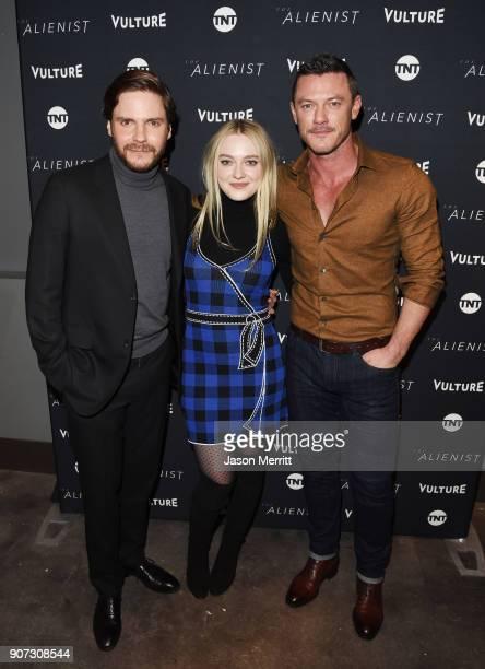 Actors Daniel Bruhl Dakota Fanning and Luke Evans attend The Alienist Special Screening during Sundance Film Festival 2018 at The Vulture Spot on...