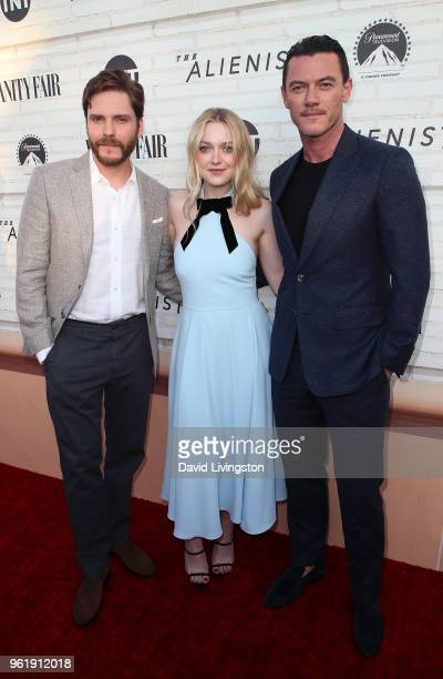 Actors Daniel Bruhl Dakota Fanning and Luke Evans attend the Emmy For Your Consideration Red Carpet Event for TNT's 'The Alienist' at the Wallis...