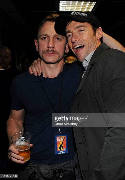 *EXCLUSIVE* Actors Daniel Craig and Hugh Jackman attend the 25th Anniversary Rock Roll Hall of Fame Concert at Madison Square Garden on October 30...