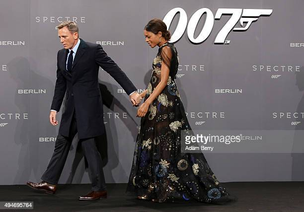 Actors Daniel Craig and Naomie Harris attend the German premiere of the new James Bond movie 'Spectre' at CineStar on October 28 2015 in Berlin...