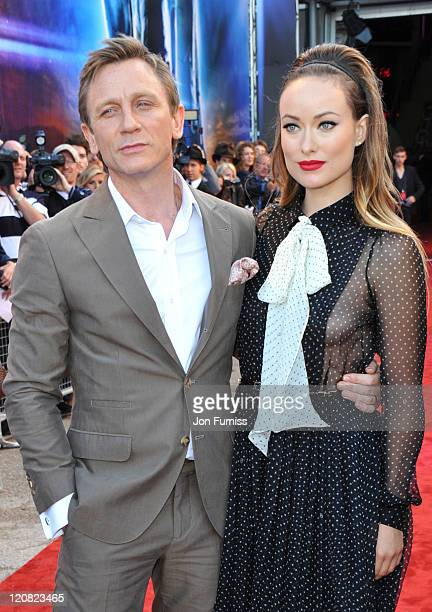Actors Daniel Craig and Olivia Wilde attend the Cowboys Aliens UK premiere at Cineworld 02 Arena on August 11 2011 in London England