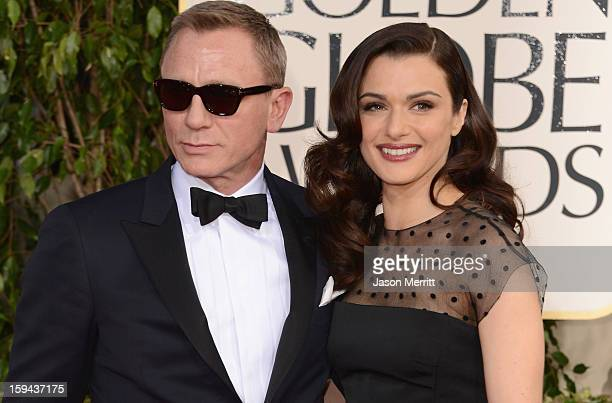 Actors Daniel Craig and Rachel Weisz arrive at the 70th Annual Golden Globe Awards held at The Beverly Hilton Hotel on January 13 2013 in Beverly...