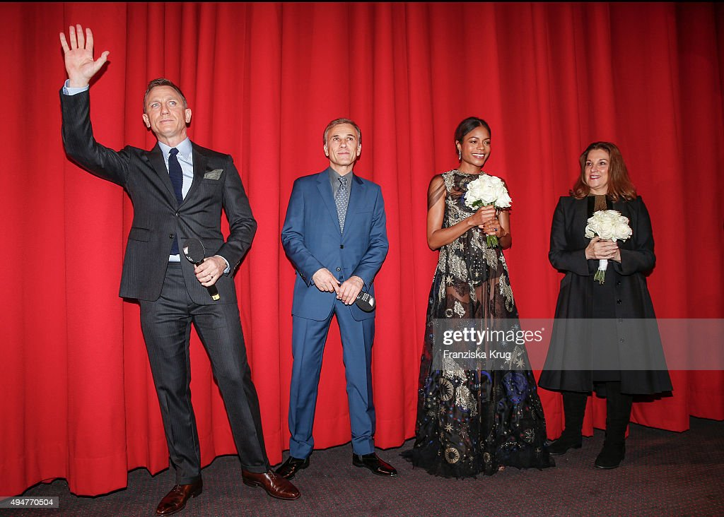 Actors Daniel Craig, Christoph Waltz, Naomie Harris and producer Barbara Broccoli attend the Spectre' German Premiere on October 28, 2015 in Berlin, Germany.