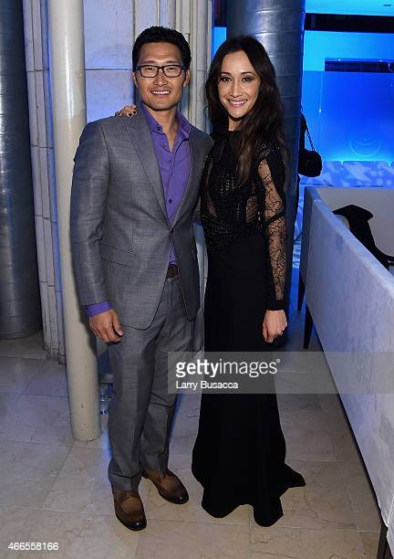 Actors Daniel Dae Kim and Maggie Q attend 'The Divergent Series Insurgent' New York premiere after party at Guastavino's on March 16 2015 in New York...