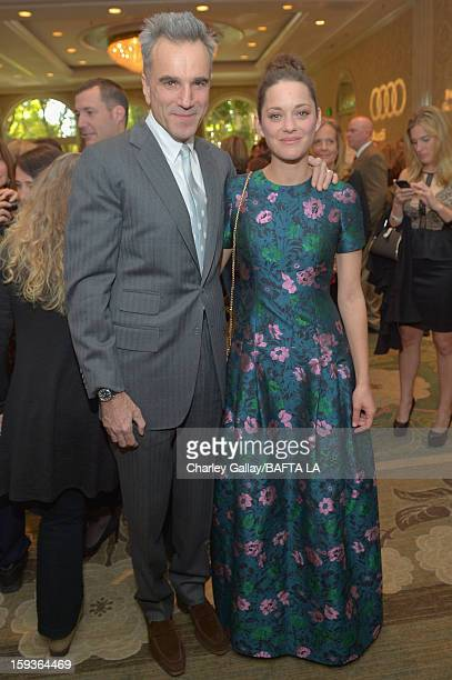 Actors Daniel Day Lewis and Marion Cotillard attend the BAFTA Los Angeles 2013 Awards Season Tea Party held at the Four Seasons Hotel Los Angeles on...