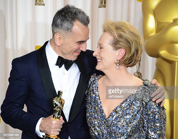 Actors Daniel DayLewis and Meryl Streep pose in the press room during the Oscars at Loews Hollywood Hotel on February 24 2013 in Hollywood California