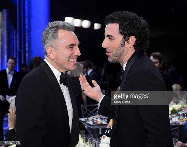 Actors Daniel Day-Lewis and Sacha Baron Cohen attend the 19th Annual Screen Actors Guild Awards cocktail reception at The Shrine Auditorium on...