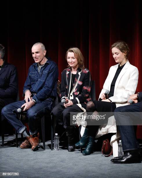 Actors Daniel DayLewis Lesley Manville and Vicky Krieps on stage during The Academy of Motion Picture Arts Sciences Official Academy Screening of...