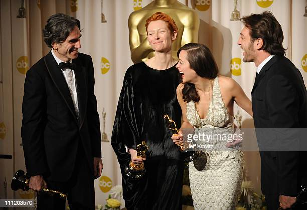 Actors Daniel DayLewis Tilda Swinton Marion Cotillard and Javier Bardem pose in the press room during the 80th Annual Academy Awards at the Kodak...