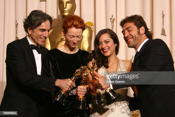 Actors Daniel Day-Lewis, Tilda Swinton, Marion Cotillard and Javier Bardem pose in the press room during the 80th Annual Academy Awards at the Kodak...