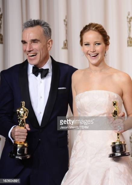 Actors Daniel DayLewis winner of the Best Actor award for 'Lincoln' and Jennifer Lawrence winner of the Best Actress award for 'Silver Linings...