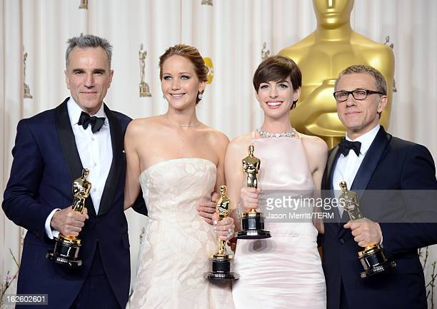 Actors Daniel DayLewis winner of the Best Actor award for 'Lincoln' Jennifer Lawrence winner of the Best Actress award for 'Silver Linings Playbook'...