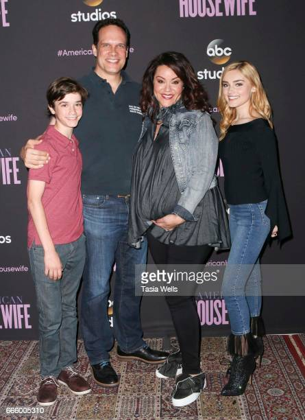 Actors Daniel DiMaggio Diedrich Bader Katy Mixon and Meg Donnelly attend ABC's American Housewife FYC event at Lucky Strike Bowling Alley on April 7...