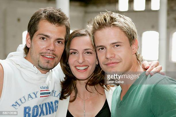 """Actors Daniel Fehlow, Ulrike Frank and Pete Dwojak pose at a photocall on the set of the German television series """"Gute Zeiten, Schlechte Zeiten""""..."""