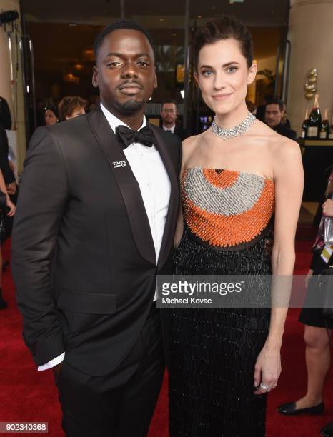 Actors Daniel Kaluuya and Allison Williams celebrate The 75th Annual Golden Globe Awards with Moet Chandon at The Beverly Hilton Hotel on January 7...