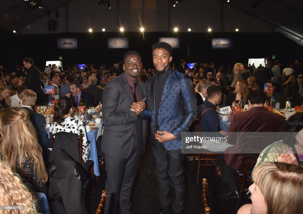 Actors Daniel Kaluuya (L) and Chadwick Boseman with FIJI Water during the 33rd Annual Film Independent Spirit Awards on March 3, 2018 in Santa Monica, California.