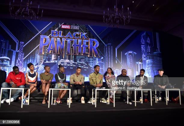 Actors Daniel Kaluuya Letitia Wright Danai Gurira Lupita Nyong'o Michael B Jordan Chadwick Boseman Angela Bassett and Forest Whitaker director Ryan...