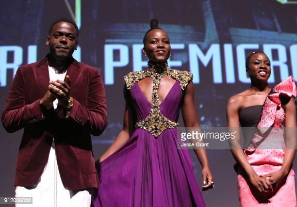 Actors Daniel Kaluuya Lupita Nyong'o and Danai Gurira at the Los Angeles World Premiere of Marvel Studios' BLACK PANTHER at Dolby Theatre on January...