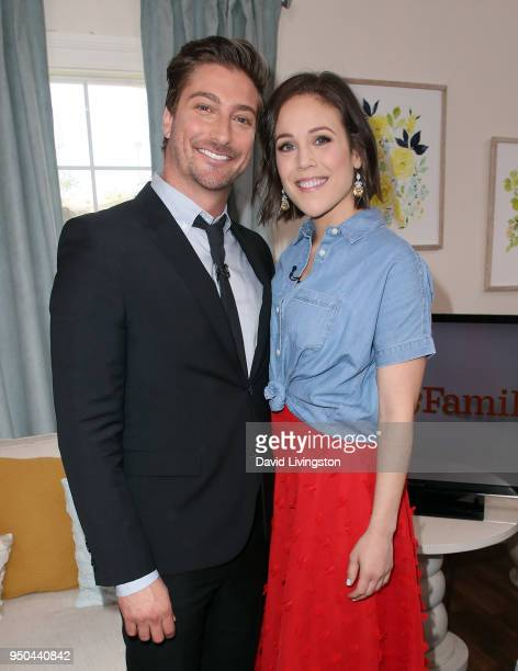 Actors Daniel Lissing and Erin Krakow visit Hallmark's Home Family at Universal Studios Hollywood on April 23 2018 in Universal City California